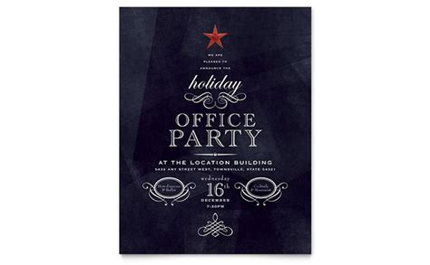 Office Holiday Party Flyer Template Design Office Flyer Templates