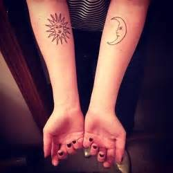 small matching tattoos for women sun and moon tattoos