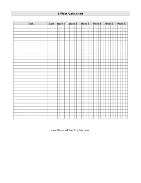 Gantt Chart Six Weeks Template Free Printable Gantt Chart Template