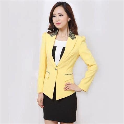 Realpict Dress Set Blazer Cantik setelan blazer kantor modern warna kuning modis dan cantik