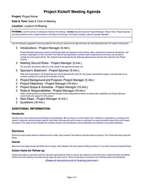 project kickoff meeting agenda template hashdoc