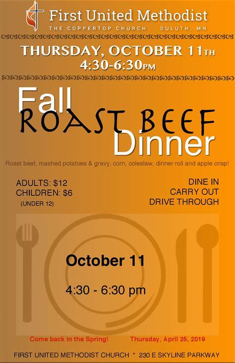 fall roast beef dinner october    united