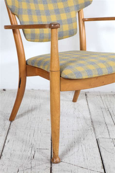 yellow and grey check chair hvidt bentwood dining chair in yellow and grey check