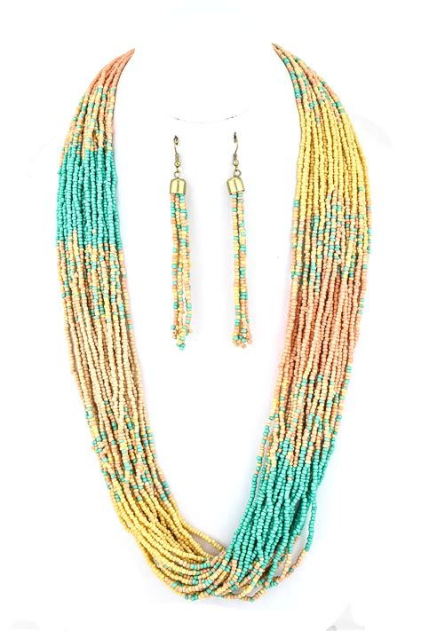 multi strand seed bead necklace strand seed bead necklace set necklaces