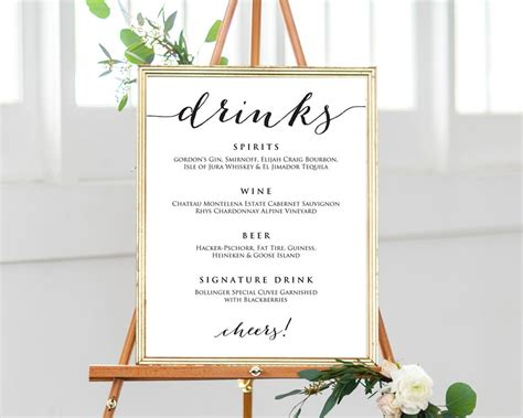 Wedding Drinks Menu Template 183 Wedding Templates And Printables Wedding Drink Sign Template