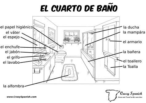 bathroom vocabulary spanish el cuarto de ba 241 o learn spanish vocabulary for the