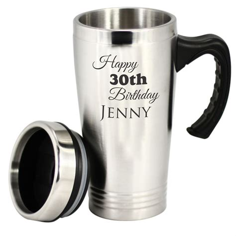custom engraved personalised stainless steel travel mug