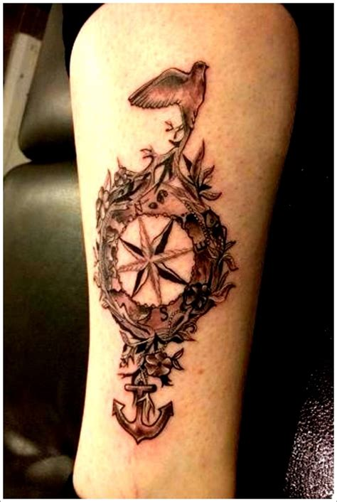 compass tattoo with birds get awesome compass tattoo designs 13