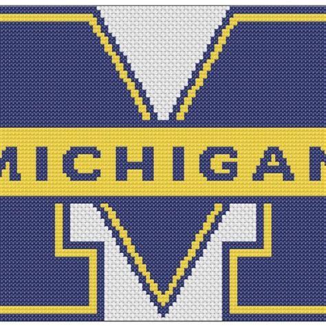 patterned u logo university of michigan logo counted cross stitch pattern