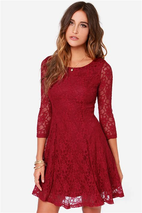 Pleted Black Dress Brokat pretty wine dress lace dress sleeve dress