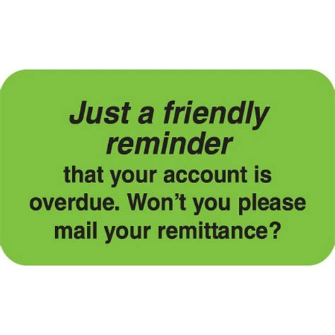 Friendly Reminder Lucky Shops billing collection labels just a friendly reminder fl