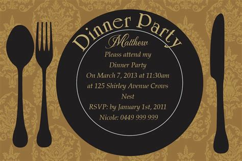 Design An Invitation Card For Dinner Party | dinner party invitation card design collection for your