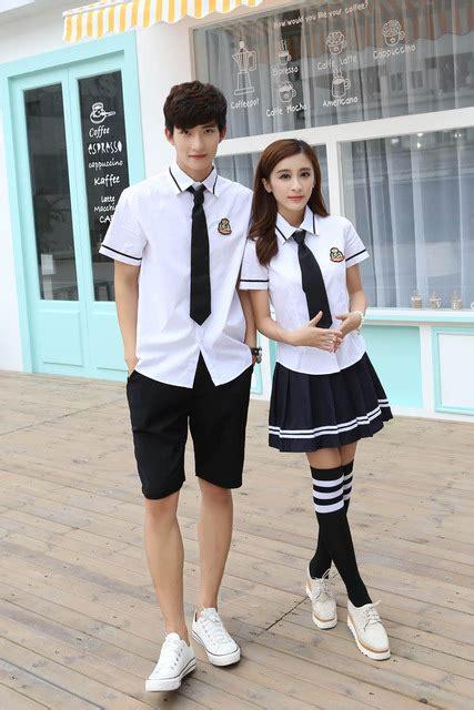 Costume Seragam Sekolah Cost085 korean school uniforms white shirt skirt for student shirt japanese school