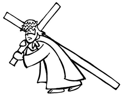 imagenes de jesus en la cruz para colorear dibujos de jesucristo cargando la cruz para pintar