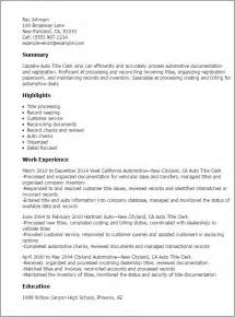 resume title sles professional auto title clerk templates to showcase your