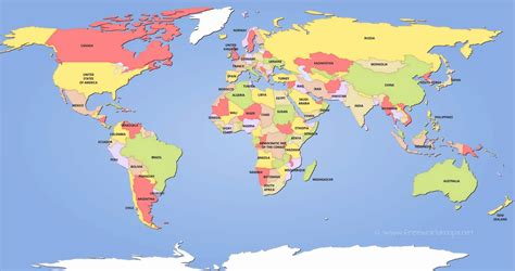 world map with countries labeled world map with countries and continents fresh world map