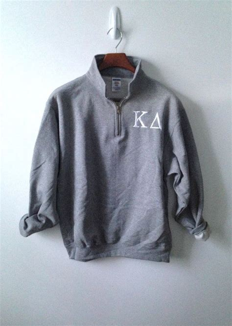 lettering zip pullover 1 4 zip pullover sorority letters on etsy 38 00 tsm