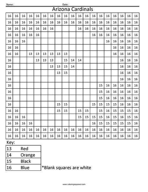 az color 13cn arizona cardinals nfl nfc color by number worksheets