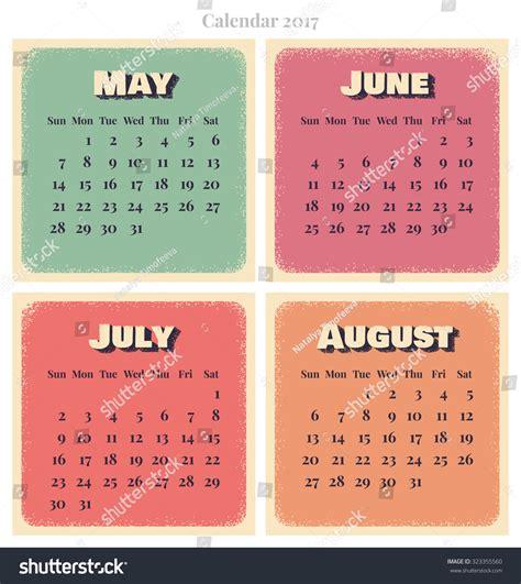 Calendar 2017 June July August Retro Vector Calendar 2017 Week Starts Sunday May June