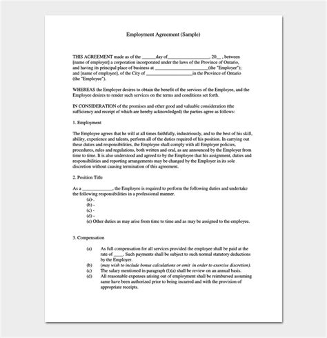 position contract template contract template 4 sle agreements for word pdf