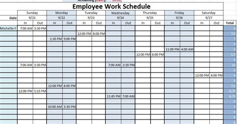 employee work schedule template sle