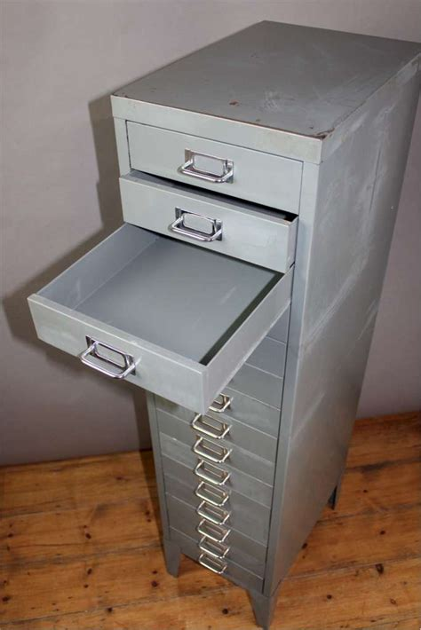 Vintage 15 drawer metal filing cabinet with chrome index