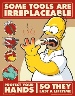hand safety poster with characters fromthe simpsons tv series