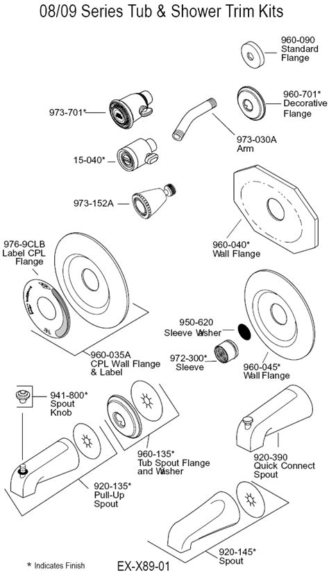 Shower Faucet Parts Diagram by Plumbingwarehouse Price Pfister Repair Parts For