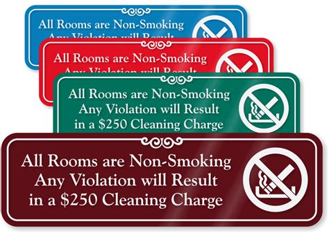 no smoking signs hotel rooms rooms are non smoking any violation cleaning charge 250