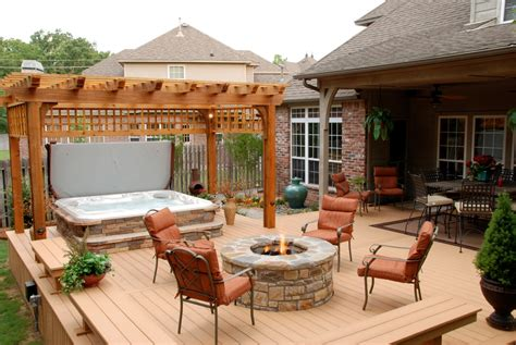 Hot Tub Install With Stone Patio Deck Porch Tub Patio Designs