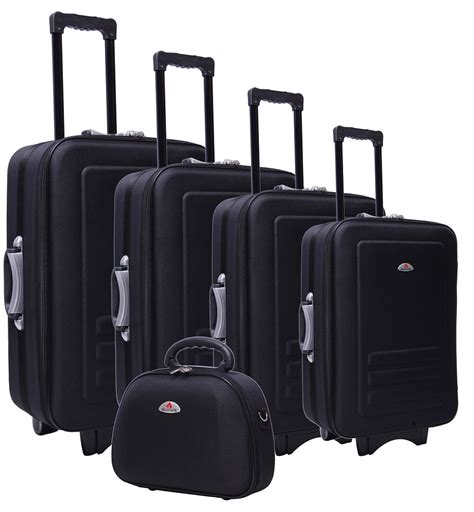 Bangkit Black Travel Bag 5pc suitcase trolley travel bag luggage set black