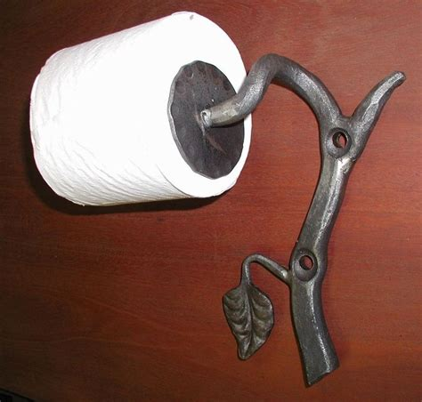 wrought iron toilet papertissue holder  hand forged leaf  blacksmiths unbranded