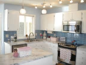 kitchen update with sky blue glass tile white stone pale blue kitchen cabinets design ideas
