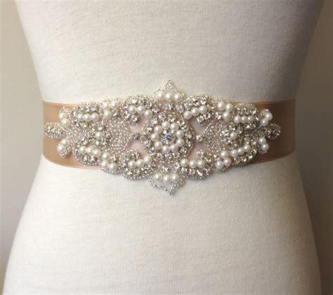 rhinestone belt chagne sash sash bridal sash