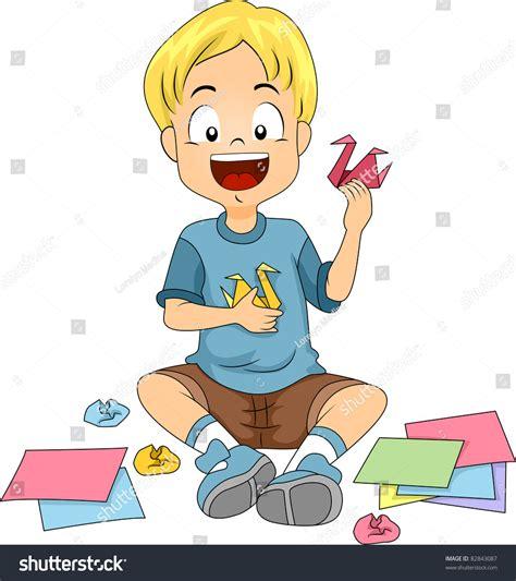 doing origami illustration kid doing origami stock vector 82843087