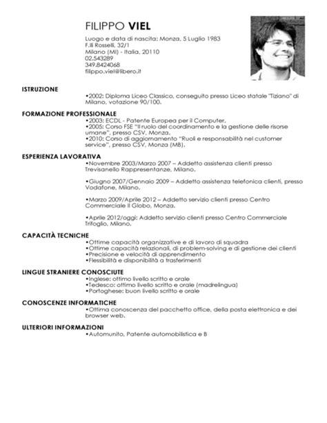 Formato Europeo Curriculum Vitae Compilato Curriculum Vitae Europeo Esempio Compilato Operaio