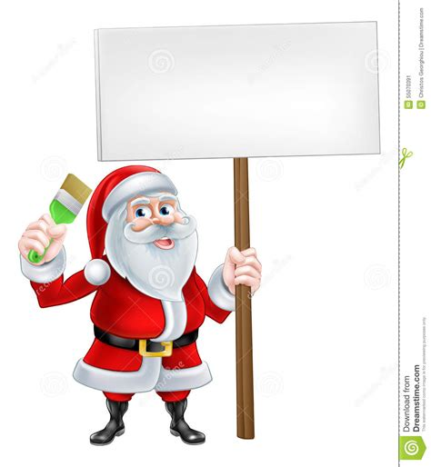 Home Decorator Com cartoon santa holding sign and brush stock vector image