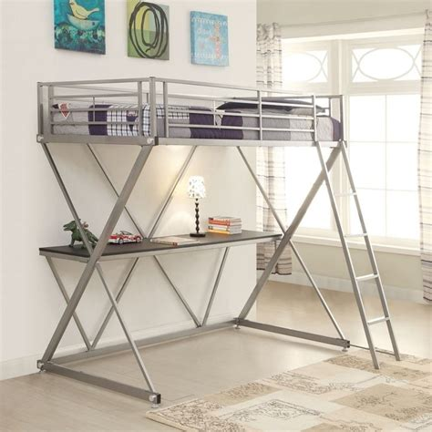 coaster loft bed with desk coaster workstation loft bunk bed with desk in silver