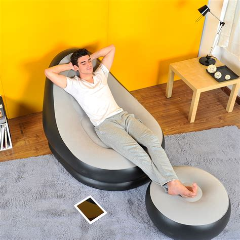 relax couch inflatable deluxe lounge lounger chair with ottoman foot