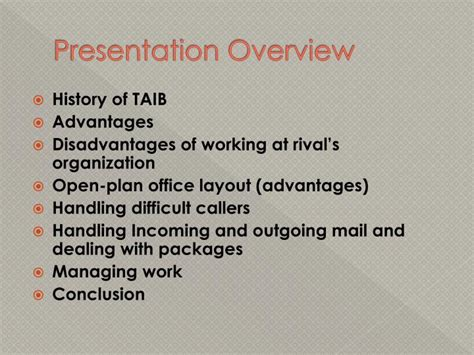 open plan office layout advantages and disadvantages ppt tabung amanah islam brunei taib private