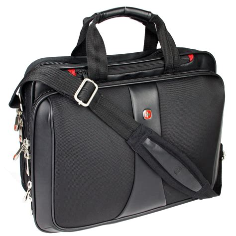 computer bag wenger swiss guard black signal briefcase gusset