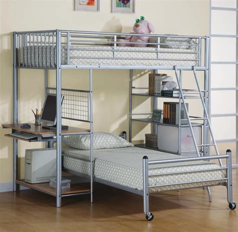 metal bunk bed with desk best modern lightweight detachable silver brushed metal