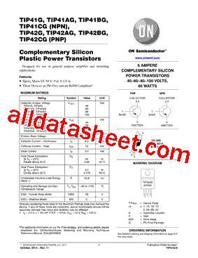transistor tip41cg 28 images datasheet pdf info tip41 1999655 pdf datasheet ic on line