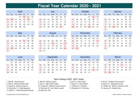 fiscal calendar vertical month week grid sun sat holiday india cool blue landscape