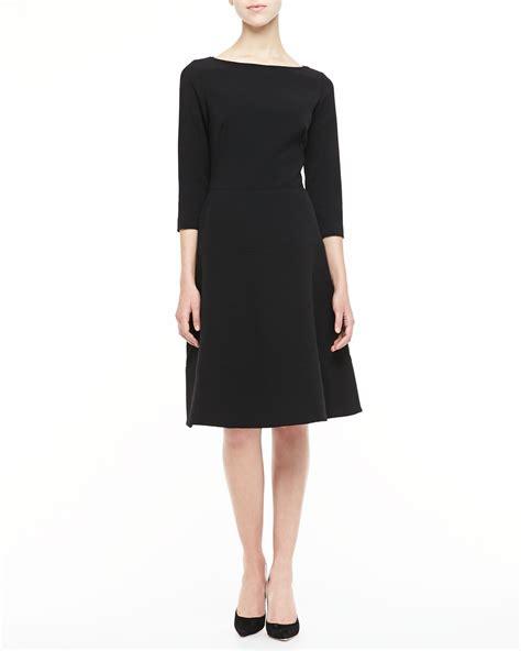 boat neck dress with 3 4 sleeves lela rose long sleeve shift dress in black lyst