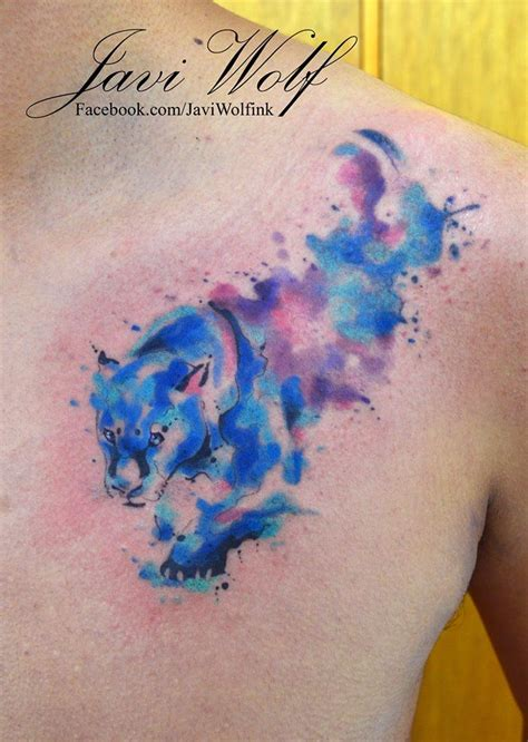 watercolor tattoo valencia watercolor panther tattooed by javiwolfink