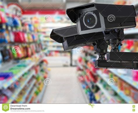 blurred wallpaper camera cctv camera or security camera on retail shop blurred