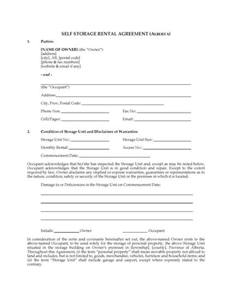 self storage business plan template alberta self storage rental agreement forms and