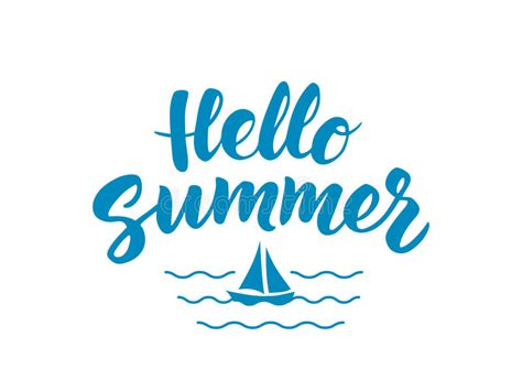 boat icon text hello summer text with nautical design elements boat icon