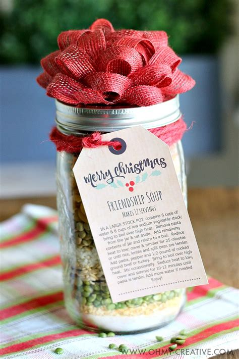 christmas soup in a jar friendship soup in a jar gift oh my creative